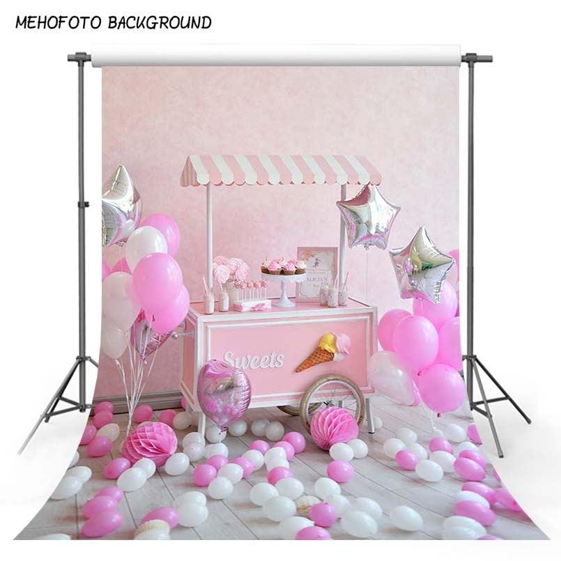 Roze en witte ballonnen Vinyl achtergronden voor fotografie 5 x 7 ft - Camera en foto