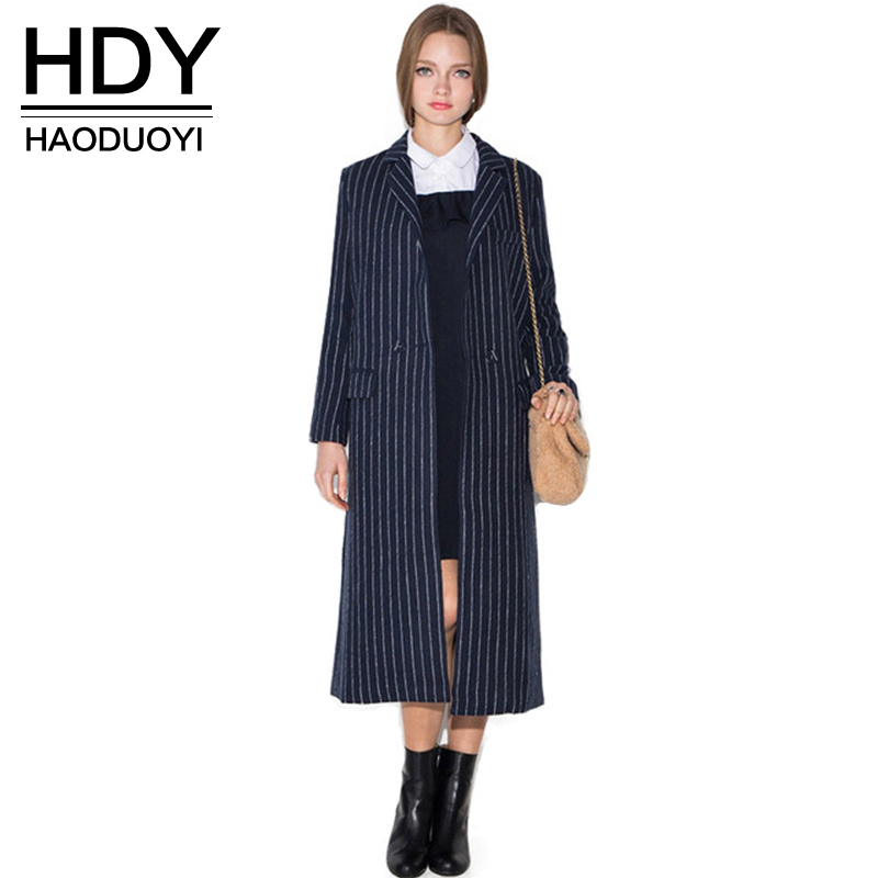 HDY Haoduoyi 2019 New Apparel Stripe Turn-down Collar Longline Coat Single Button Female Outwear Casual Loose Women   Trench   Coat