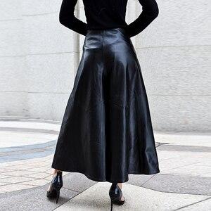 Image 5 - Pantalones de lujo de alta calidad para Mujer, pantalón hasta el tobillo, de piel auténtica, Pantalones de pierna ancha de cintura, informales, holgados, 2020