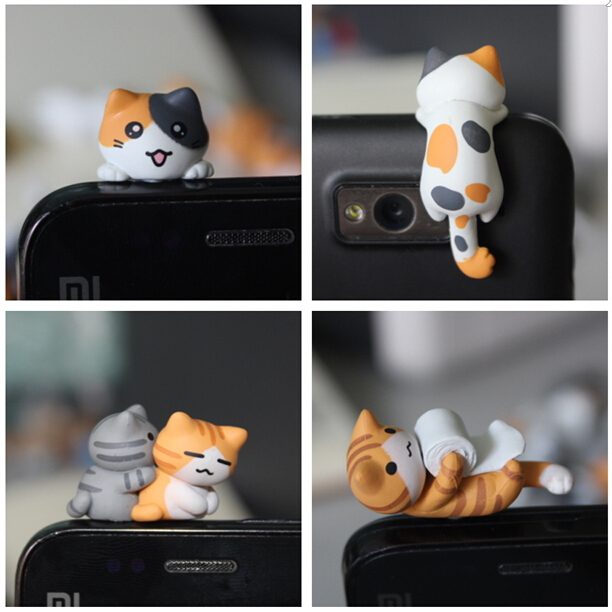 kpop kawaii түпнұсқалық сапалы Chi мысық ұялы телефонға арналған шаңға қарсы шанышқы, сүйкімді аниме құлаққап құлаққап қақпағы