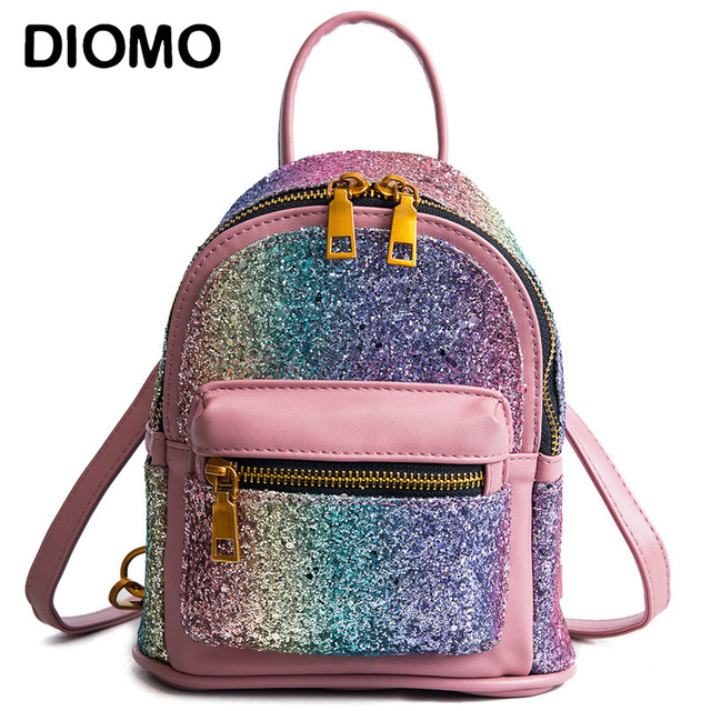 54cb612d5 DIOMO Mini Backpack for Women Luxury Sequins Glitter Small Backpack Purse  Designer Girls Back Pack Kawaii Cute Bagpack 2018