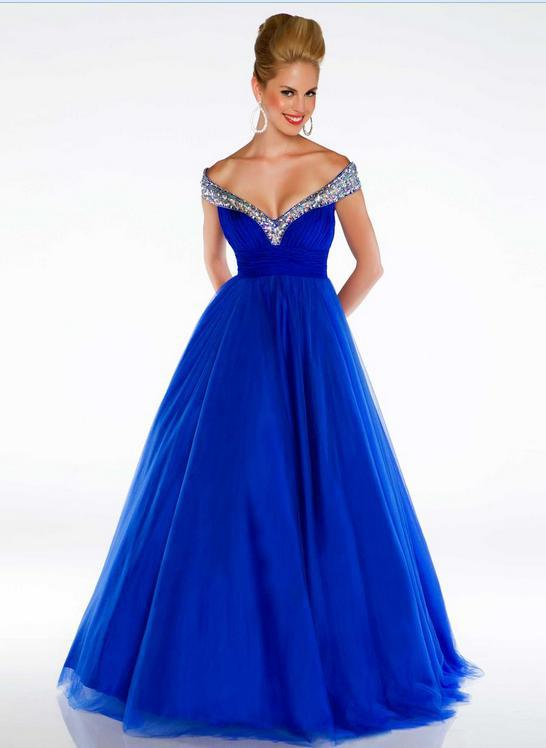 free shipping vestidos de festa 2015 new custom fashion v neck crystal long tulle hot sexy royal blue evening Dresses ball gown