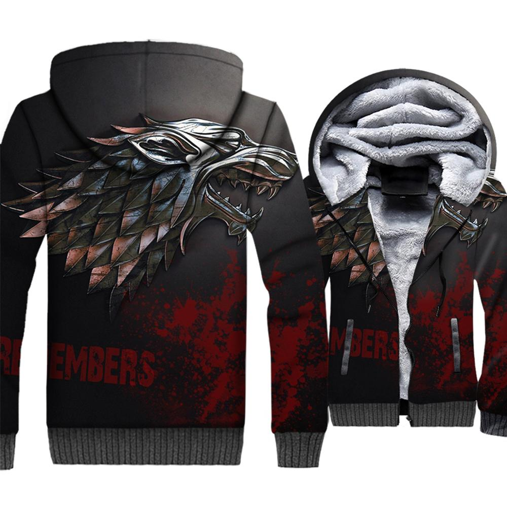 2018 Autumn Winter Men's Jacket Game Of Thrones 3D Sweatshirt For Men House Stark Wolf Hip Hop WINTER IS COMING Harajuku Hoodies