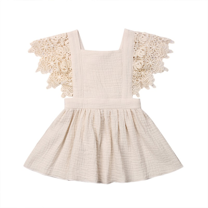 Baby Girls Dress Summer Kids Infrant Baby Girls Dress Lace Floral Party Dresses Toddler Sleeveless Solid Dress For Girls