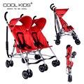 Super leve carrinho de bebê gêmeo gêmeos do bebê carrinhos de viagem cor preto vermelho