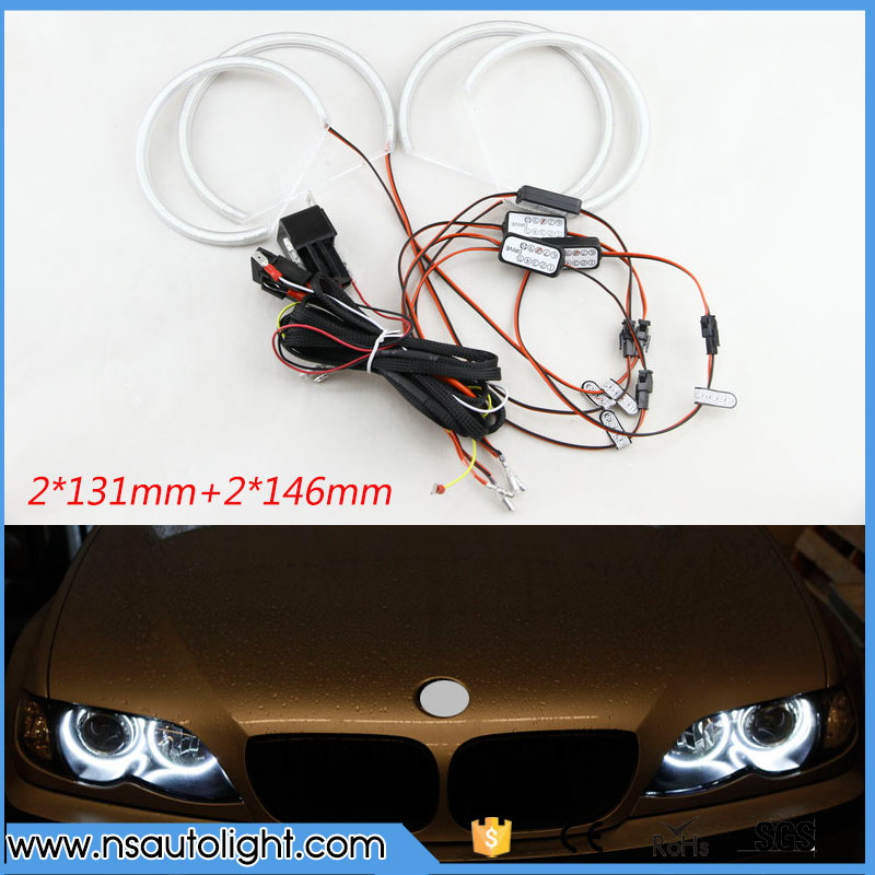 2017 New Car 3014 LED Angel Eye Light Cool White 10000K Super Bright Car Auto Headlight For BMW E46 non projector