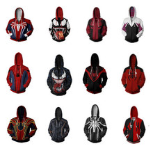Marvel Super Hero Venom Spider-Man Men Thin Hoodies Cosplay Costume Unisex Jacket Pullover Sweatshirt