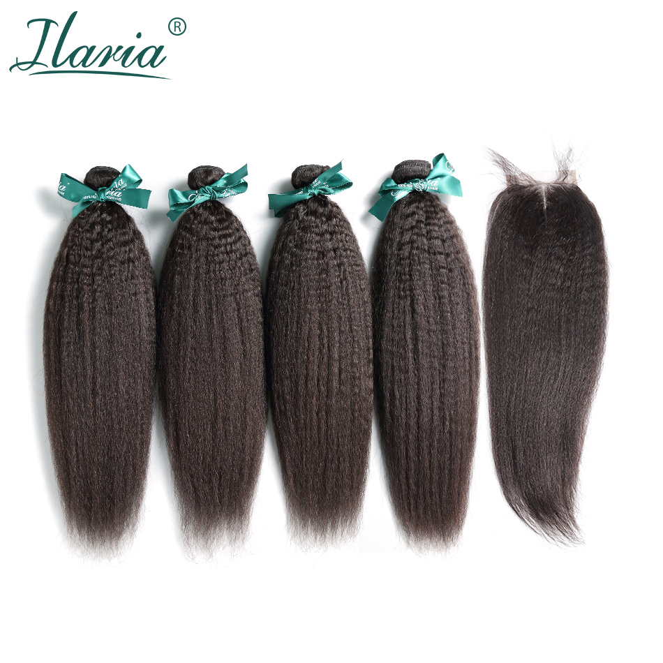 ILARIA HAIR Brazilian Coarse Yaki Hair 4 Bundles With Closure 100% Human Hair Weave Bundles With Lace Closure Kinky Straight image