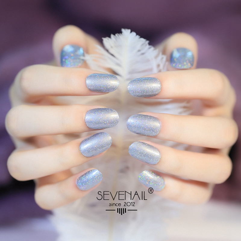 24pcs UV Holo Silver Glitter False font b Nails b font Sparkly Short Acrylic Press On