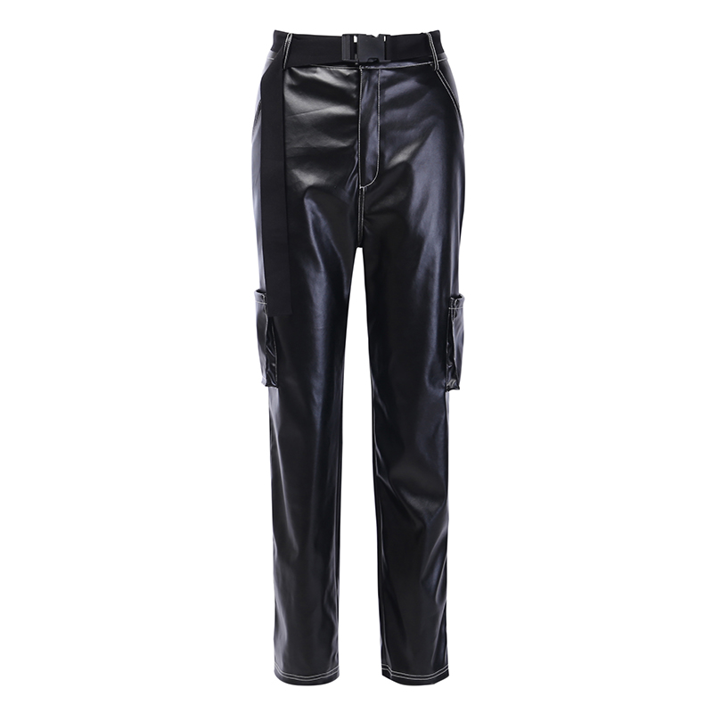 InstaHot Loose Wide Leg Pants Faux Leather PU Black High Waist Straight Pants Women Pockets Autumn Streetwear Casual Trousers