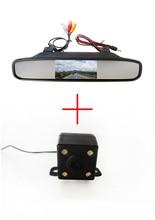 Универсальный вид сзади автомобиля обратный парковка безопасности помощи при парковке с с функция ночного видения камеры + 4.3 дюймов зеркало заднего вида монитор