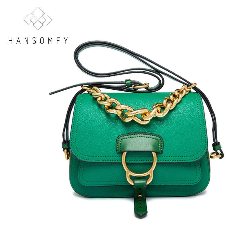 HANSOMFY Fashion Flap Lady brand bag women bags casual style shoulder bag single Chains Messenger Bags Cow Genuine Leather free shipping new fashion brand women s single shoulder bag lady messenger bag litchi pattern solid color 100