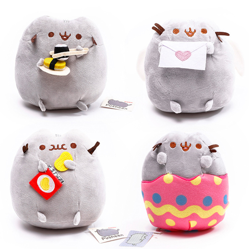 New Arrival Pusheen Plush Toys 15cm Pusheen Cat Sushi Potato Chips Egg Shell Angel Plush Soft Stuffed Animals Toys for Kids Gift kawaii pusheen cat brinquedos 15cm 23cm donuts cupcake sushi