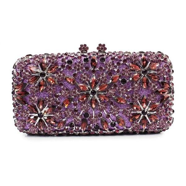 Beautiful Purple Crystal Party Stone Evening Clutch Bags Deep Handbags Woman 8649a