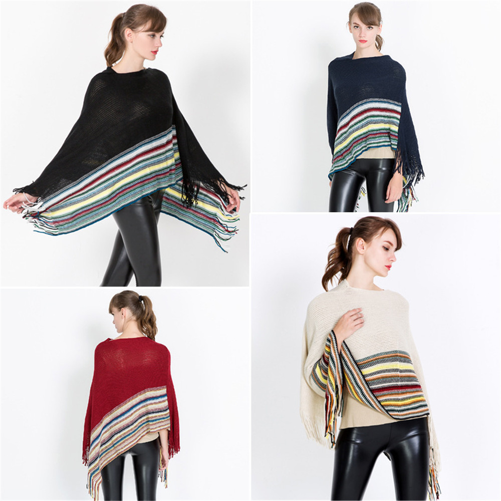 The New winter knitted turtleneck cape shawl female fashion stripes European and American style ladies scarf cloak pullover
