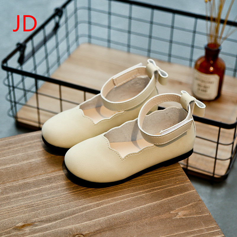 Autumn New Girls Princess Shoes Big Wavy Leather Shoes Flat Shoes Casual Shoes Children JD