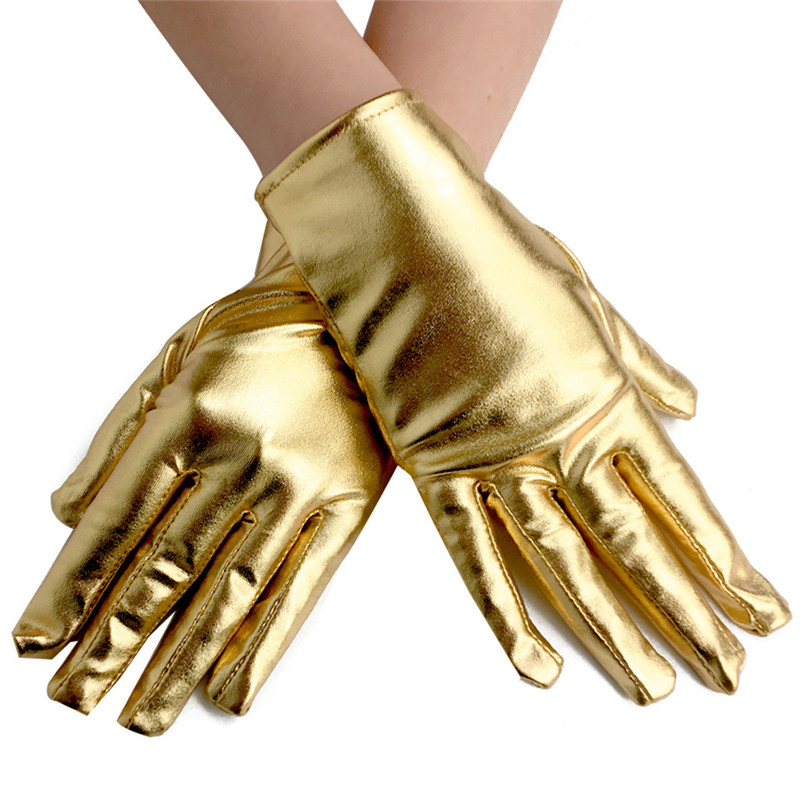 1 Pair Men Women Short Patent Leather Gloves Gold Silver Fashion Wrist Party Gloves Halloween Bright Stage Performance Gloves