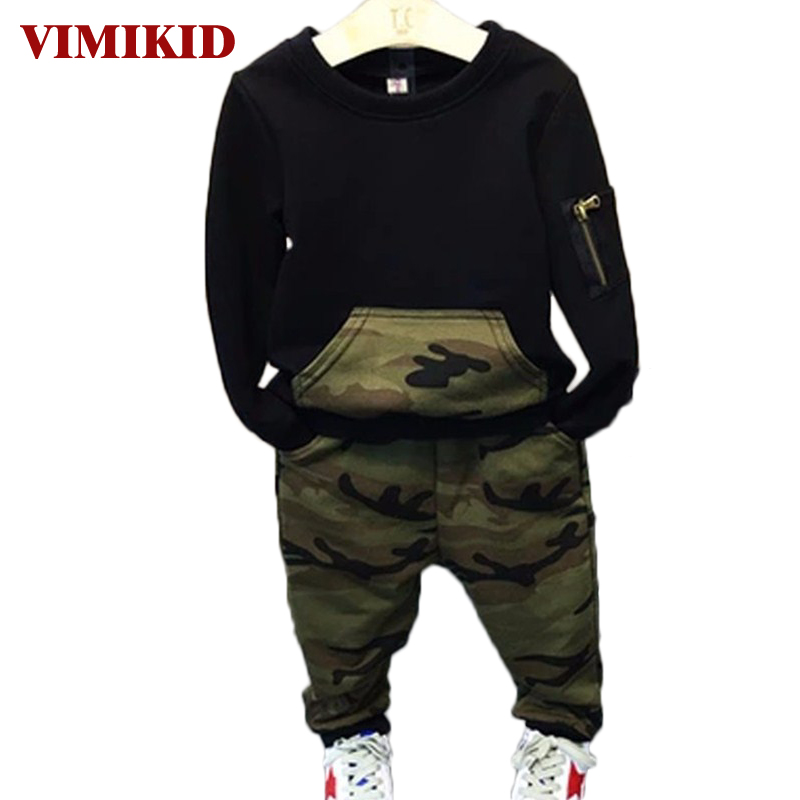 VIMIKID Cool Boys Clothing Sets 2017 Autumn Kids sport suit full sleeves blouse + pants suits Kids tracksuits for 2-8 years wholesale new fashion autumn casual sport suits tracksuits for kids gold chain printing hip hop outwear boys clothing sets