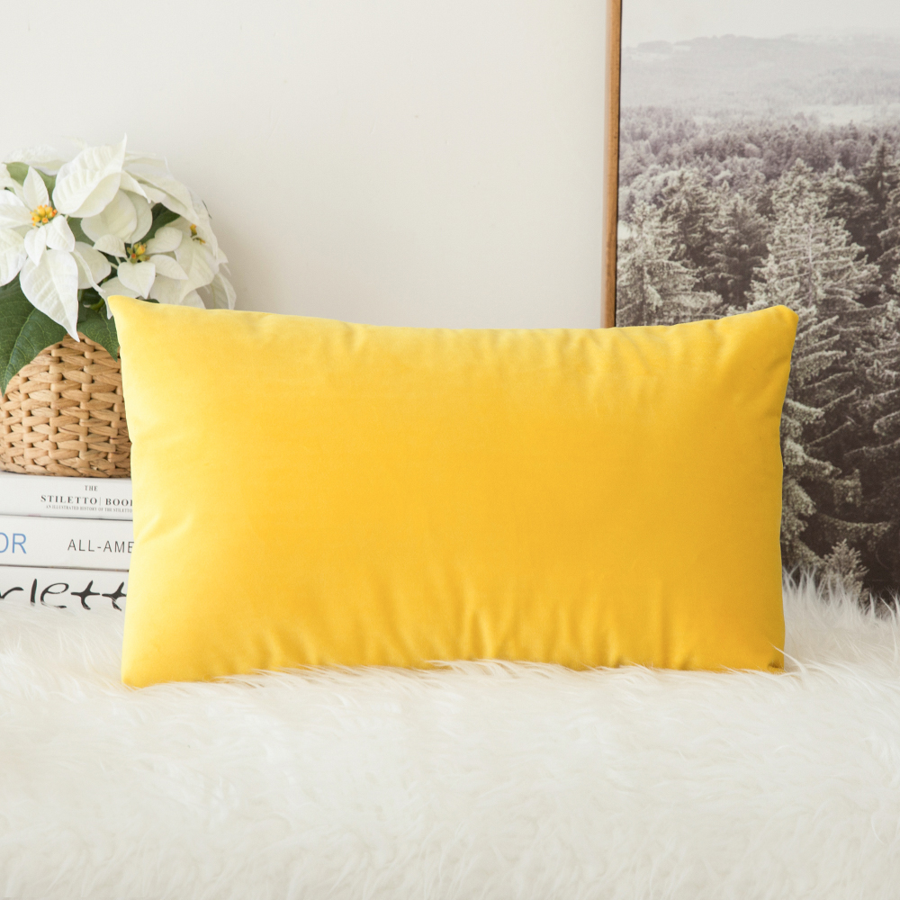 Decorative Velvet Throw Pillow Cover Soft Comfortable Pillow Cover Soild Square Cushion Case for Sofa Bedroom Car <font><b>30</b></font> x <font><b>50</b></font> cm image