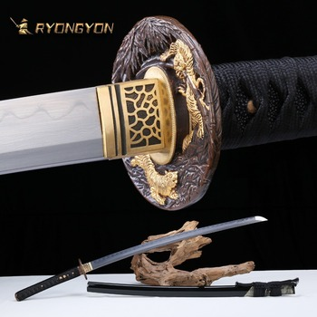 Handmade Katana Real Sword Sharp Samurai Sword Japan Ninja Sword Damascus Steel Full Tang Clay Tempered Hand Lapping Blade A701