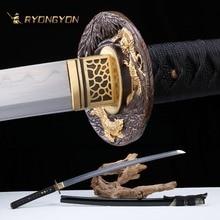 Ручной катана настоящий меч острый самурайский меч Япония ниндзя дамасский меч Сталь Полный Тан обкладка глиной ручной притирки лезвие A701