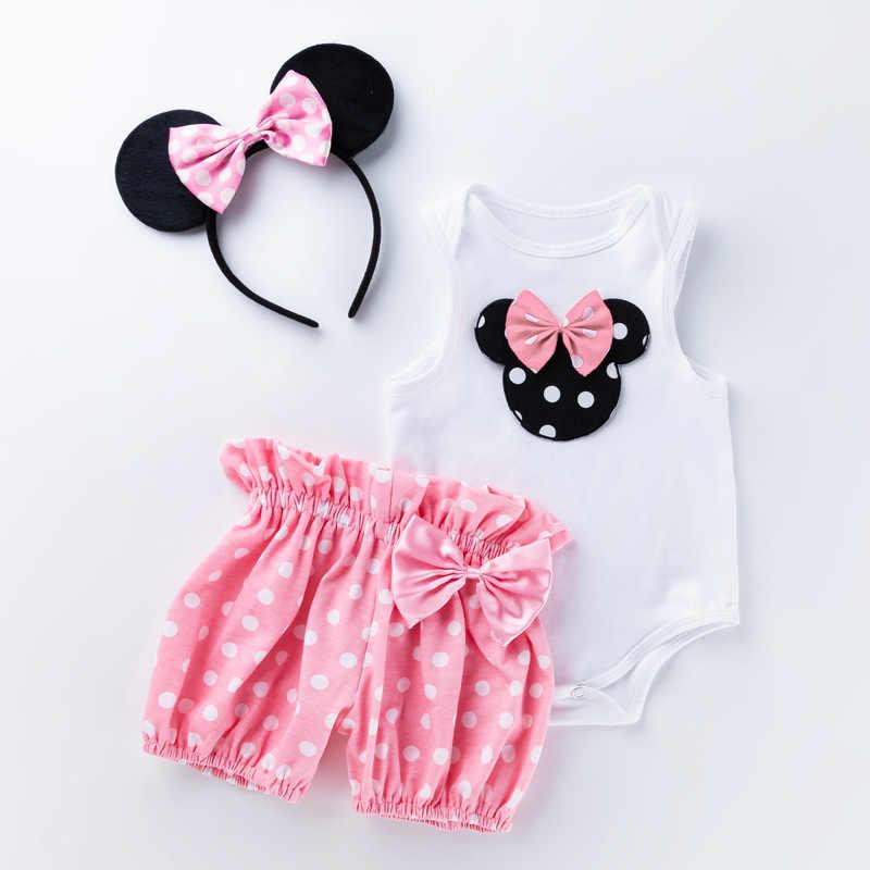 Bebé 1er cumpleaños ropa a lunares Mickey body Shorts diadema 3 uds 1-2 años fiesta niño bautizo vestido ropa