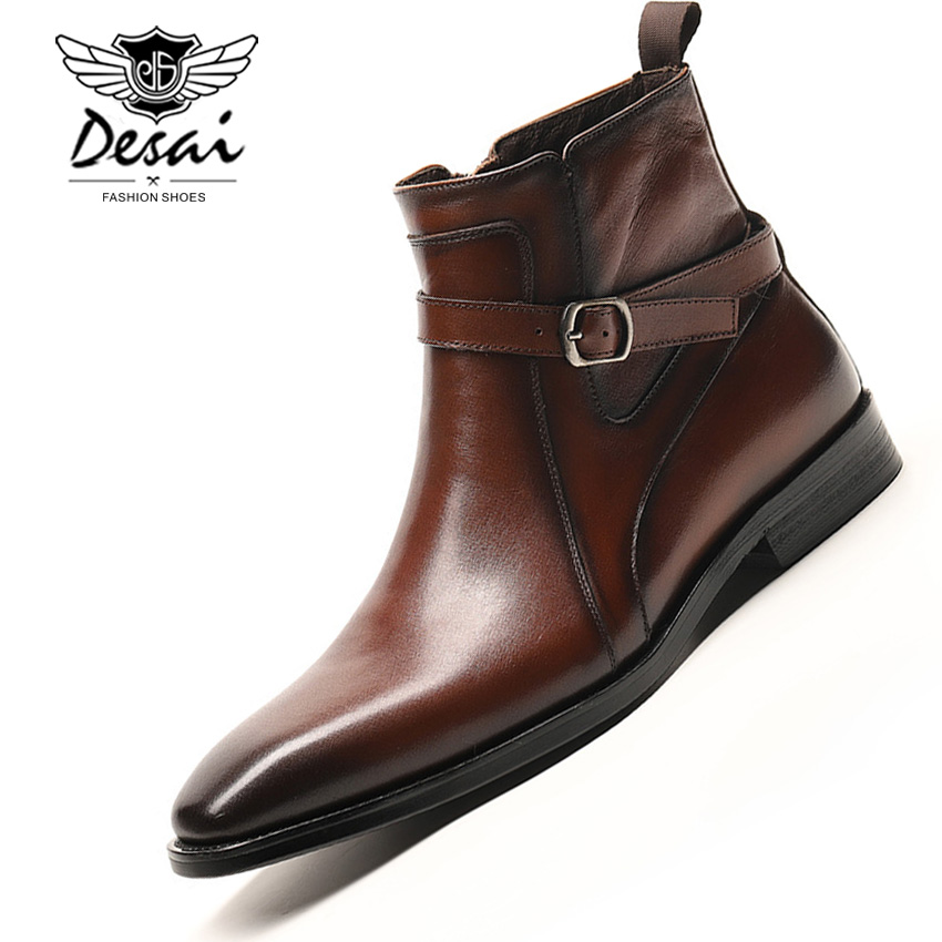 DESAI Autumn Winter Men High Boots Slip On Pointed Chelsea Boots Genuine Leather Breathable Business Formal