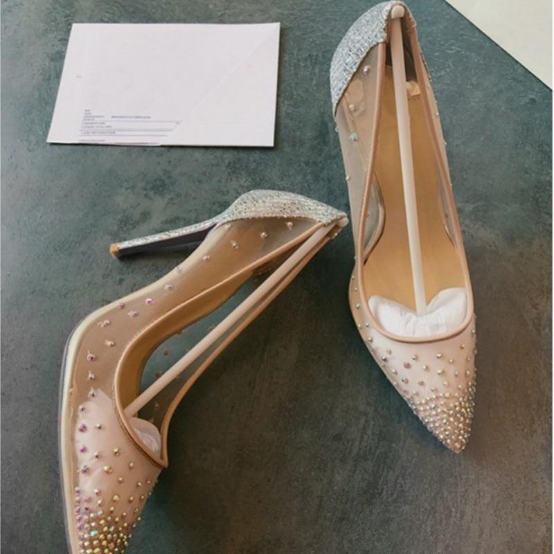 Bombas de malla de calidad superior de cuero genuino para mujer Zapatos de tacón alto de punta estrecha transparente zapatos de boda - 2