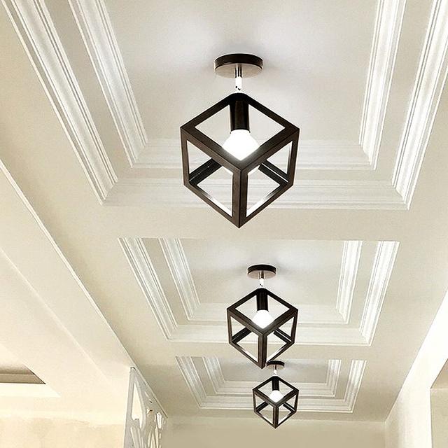 American Vintage LOFT Single Style Ceiling Light Corridor Entrance Balcony Room Ceiling Lamp Indoor Lighting Fixture Square lamp