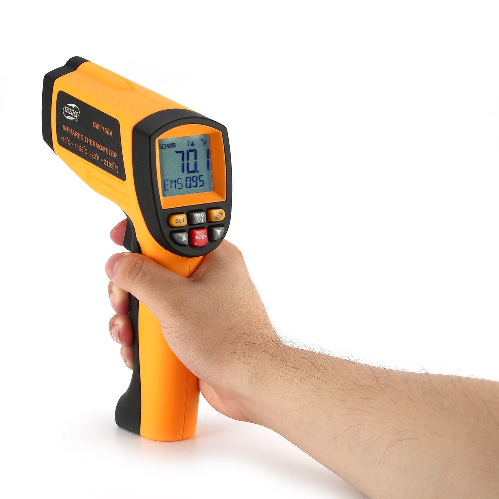 BENETECH 50:1 GM1150A Infrared Thermometer Non Contact Infrared Temperature Pyrometer IR Laser Point Gun -30~1150 Degree benetech gm1650 infrared thermometer non contact pyrometer ir laser point gun with backlight 200 1650 degree for industial use