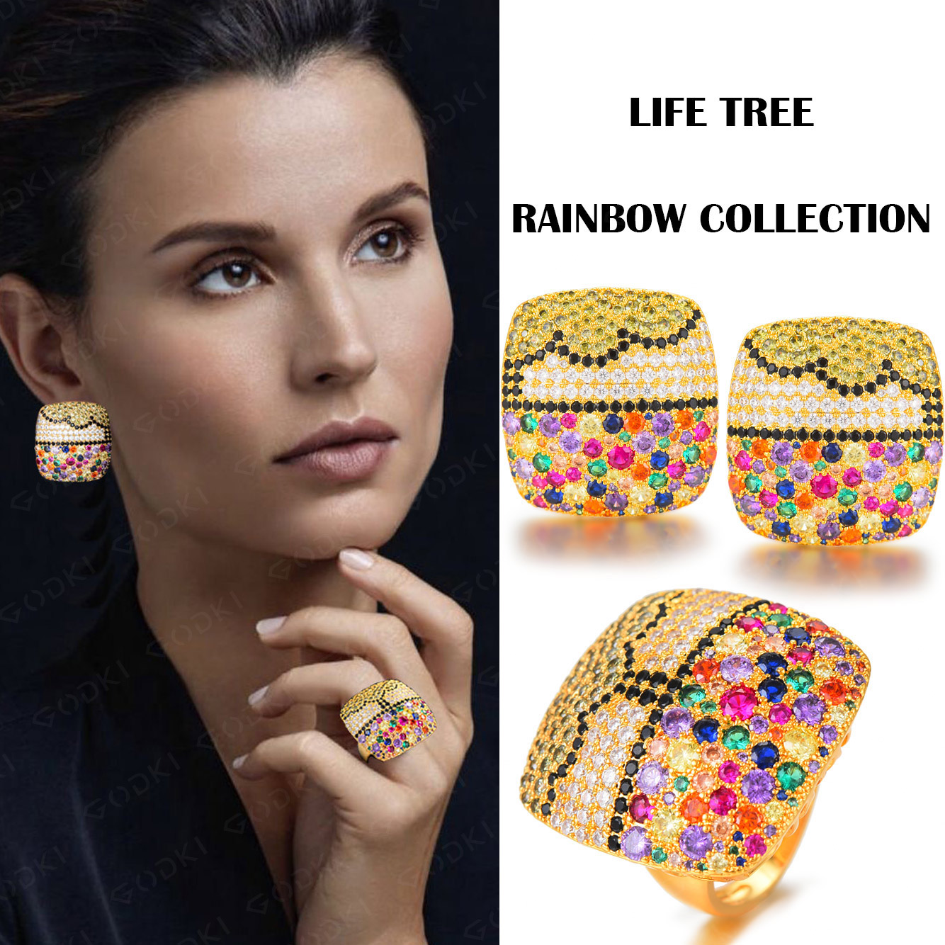 GODKI Luxury Charms Multicolor Crystal Square Statement Ring Earring Set Full Cubic Zircon Women Fashion Jewelry Sets 2019