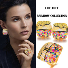 GODKI Luxury Charms Multicolor Crystal Square Statement Ring Earring Set Full Cubic Zircon Women Fashion Jewelry Sets 2019 цена