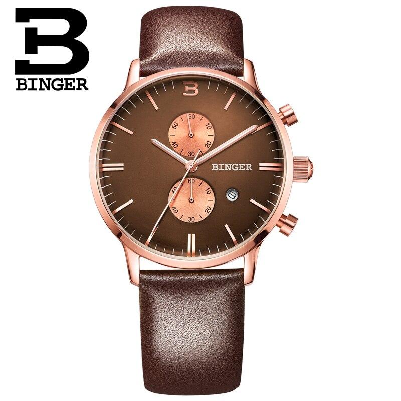 BINGER deporte reloj de cuarzo relojes para hombre marca de lujo cronógrafo de cuarzo de cuero de oro rosa reloj Relogio - 5