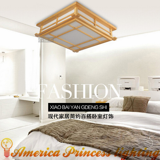 Japanese-style wood LED ceiling lamp Sheepskin cover Tatami bedroom living room study lamps White 45cm 20W AC110-240V japanese led ceiling light ac90 265v indoor lighting square 45 55cm solid wood natural bedroom living room lamp foyer lamps