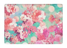 Floor Mat Romantic Watercolor Pink Peony Retro Floral Teal Polka Dots Print Non-slip Rugs Carpets For Indoor Outdoor Living Room