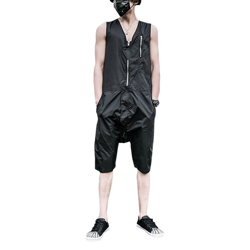 2017 New Summer Sleeveless Rompers Men Overalls Black Collapse Pants Suspenders Jeans One Piece Trousers Singer Costumes Pants 2017 summer new men denim strap pantyhose tide one piece suspenders denim overalls pants bib trousers jeans singer costumes