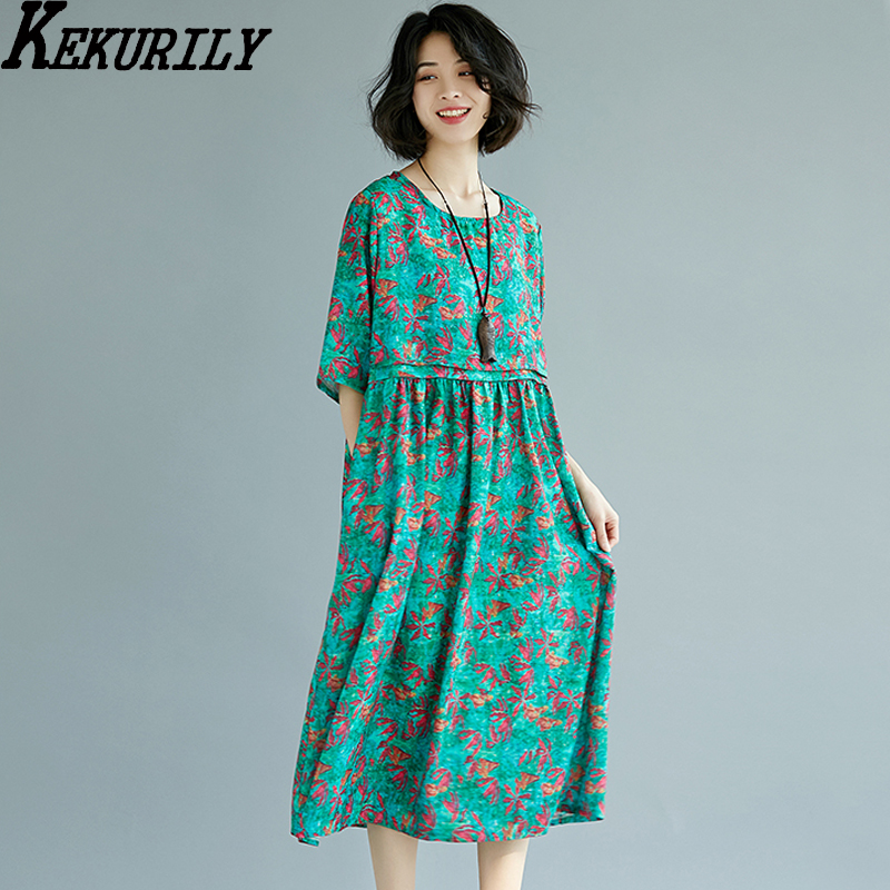Dashiki Long maxi t shirt dress 2018 women Ethnic style summer print floral cotton linen large dresses runway robe green clothes