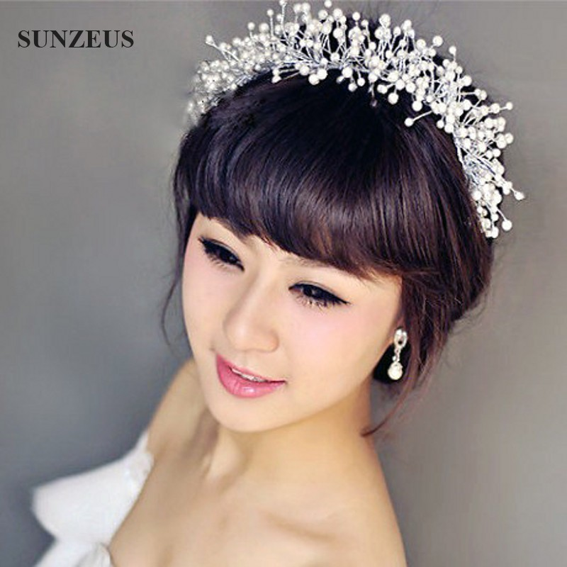 New Hand-made Pearls Bridal Headband Crown Wedding Tiara Headpiece Bride Head Accessories Free Shipping SQ073