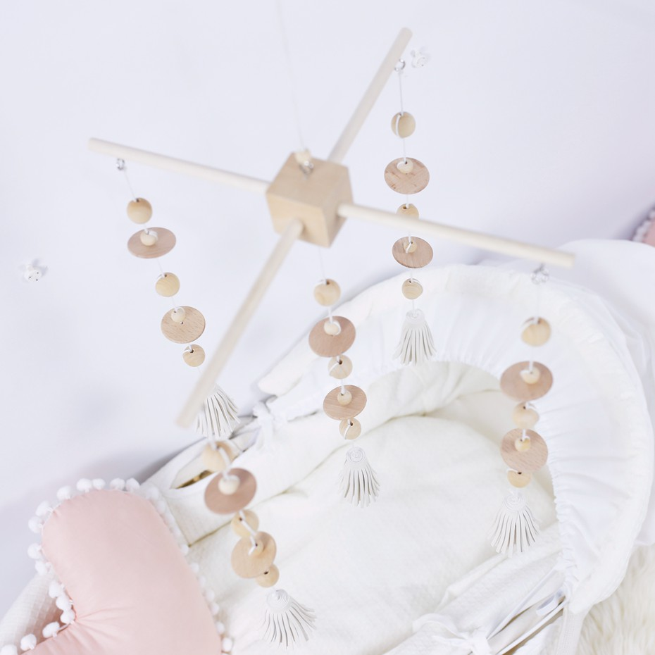 1 PC 0-12 mois bébé Mobile lit de berceau cloche hochet jouet perles en bois naturel vent carillon pendentif bricolage artisanat accessoires décoratifs