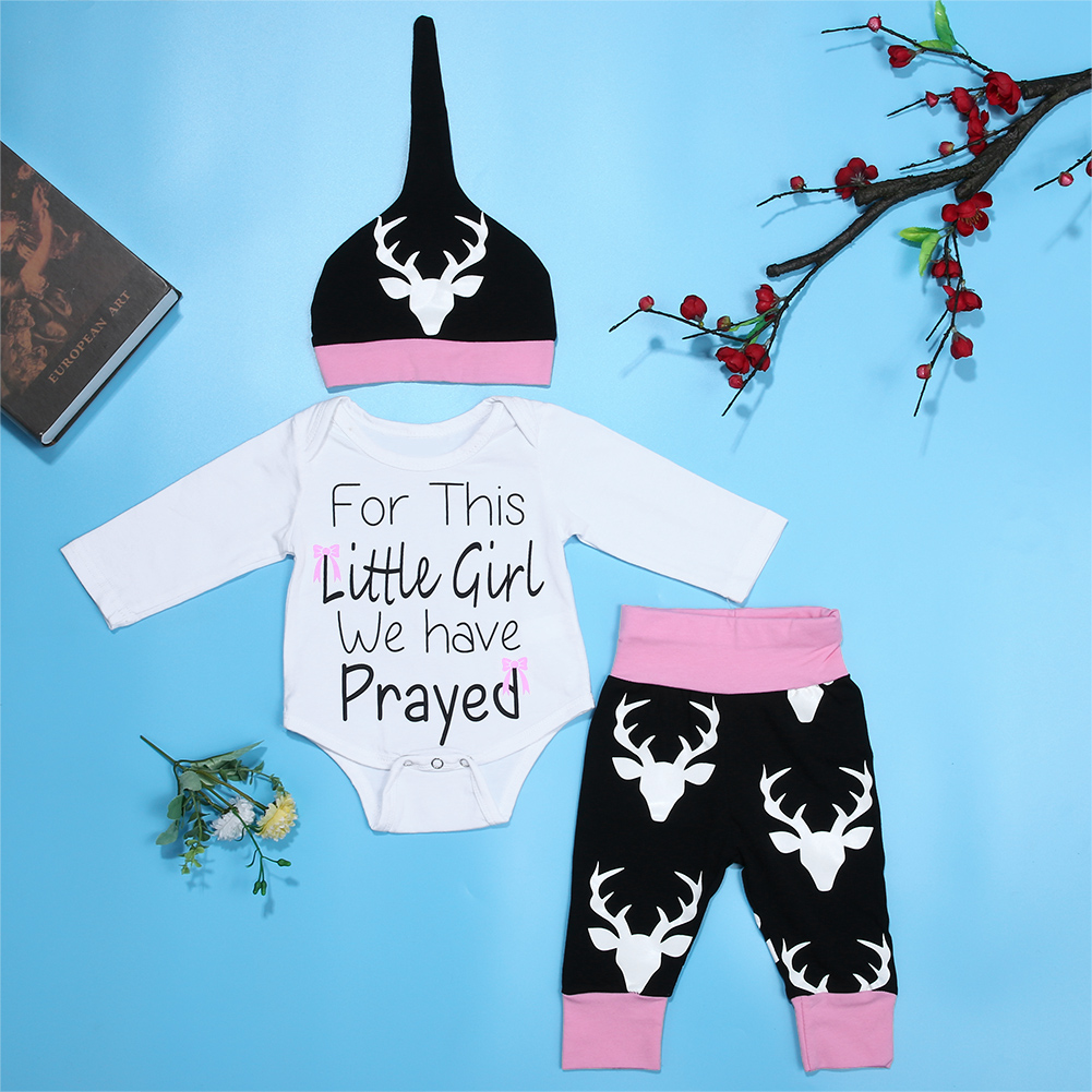 Baby Deer Clothing Sets Newborn Toddler Baby Boy Girl Romper T Shirt+Pants Hat 3PCS Outfits Kids Chrismas Style Clothing Set 0 24m newborn infant baby boy girl clothes set romper bodysuit tops rainbow long pants hat 3pcs toddler winter fall outfits