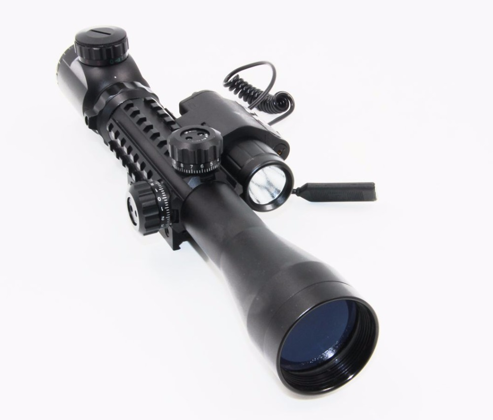 Tactical Compact Combo 3-9x40EG Riflescope w/ 20mm Weaver Rail M6 Red Laser Sight LED Flashlight for Airsoft Rifle Scope Hunting