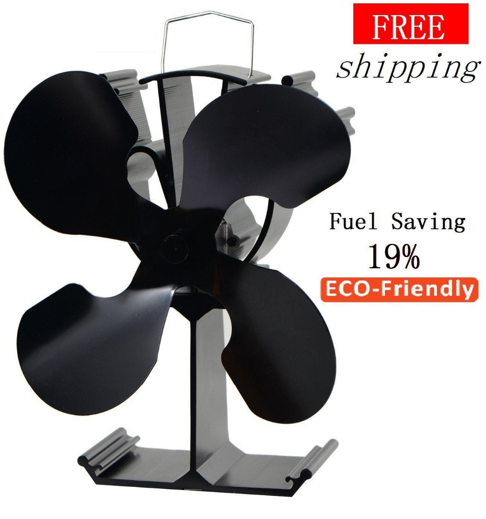 4 Blades Heat Powered Stove Fan(Black)+ 19% fuel saving stove fan for wood burner/ fireplace-Eco Friendly free shipping cheap heat powered stove fan in black gold silver coppery blade