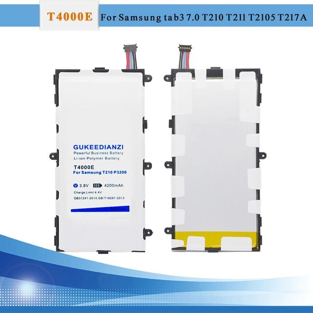 GUKEEDIANZI Li-Ion Thay Thế Pin T4000E 4200 mAh Đối Với Samsung Galaxy Tab 3 7.0 SM T210 T211 T215 GT P3200 SM-T210 t217 T2105
