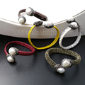 WT-B278 5pcs/lot Genuine Leather Bangle New Design Pearl Jewelry,Adjustable Bangle color leather with pearl Design Wholesale