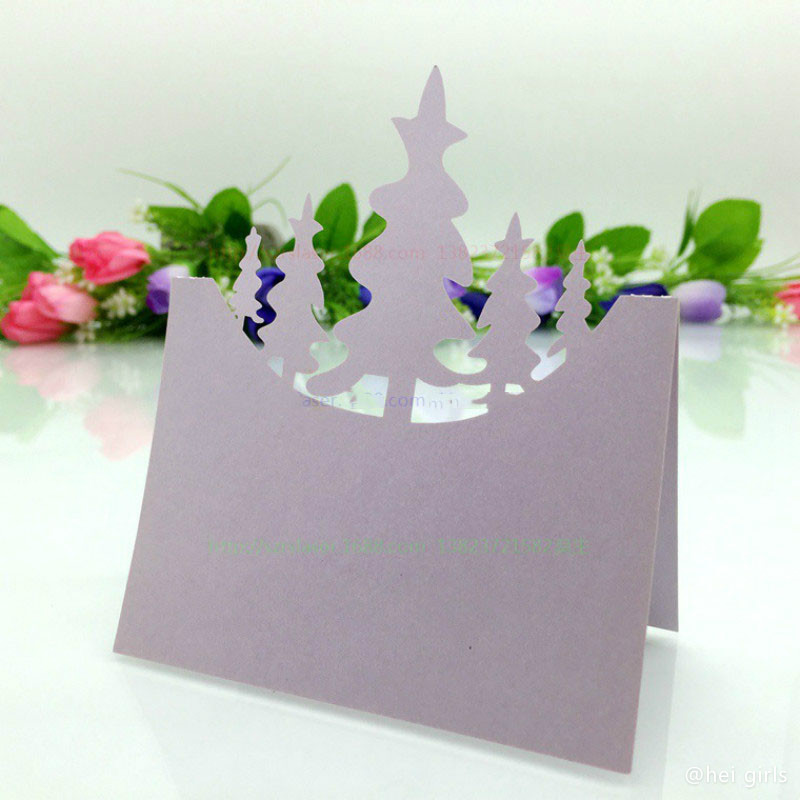 100pcs/lot Hollow Christmas Tree Table Name Card Wedding Invitations For Business/Party/Birthday Decoration Supplies 5D