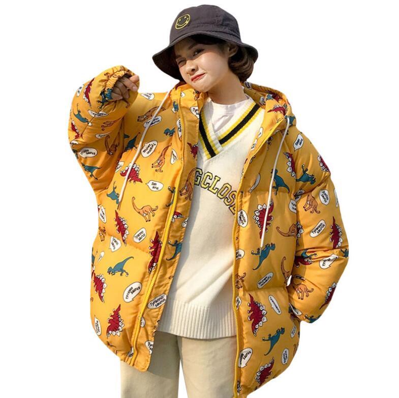 Winter Cartoon Dinosaur Loose Hooded Thick Coat Women