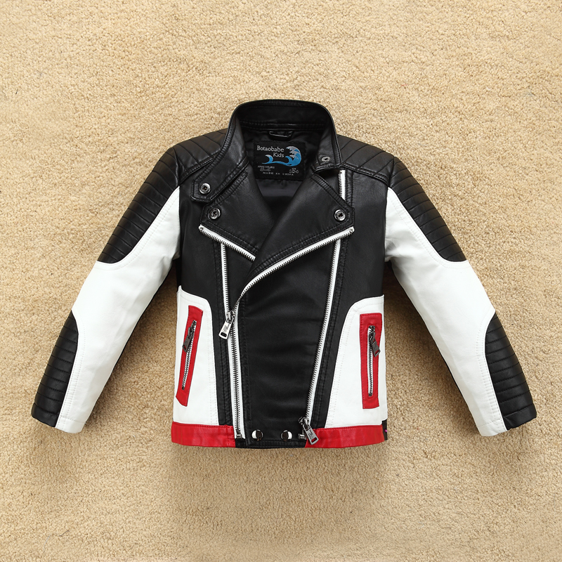 Handsome Cool Design Boys Leather Motor Jacket for Autumn Spring Kids Warm Coat Bomber  baby boy winter clothes-in Jackets & Coats from Mother & Kids