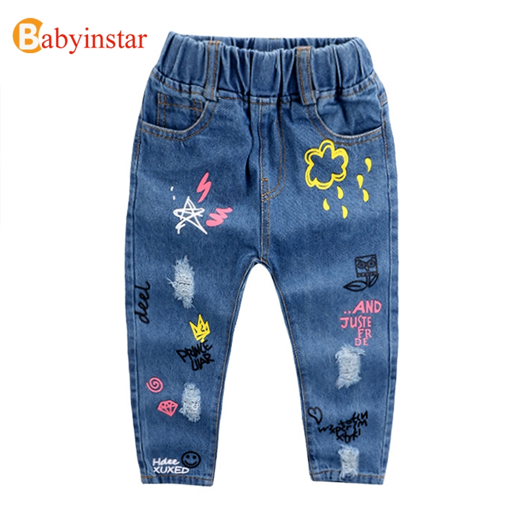 Babyinstar Boys Cowboy Trousers Spring Autumn Cute Cartoon Print Casual Girl Denim Pants Ripped Jeans 2017 New Kids Girls Jeans