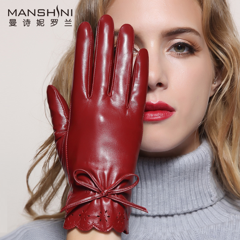 Winter Genuine Leather Gloves Women's Fashion Touch-screen Sheepskin Glove Winter Thicken Warm Touch Screen Gloves For Women 011