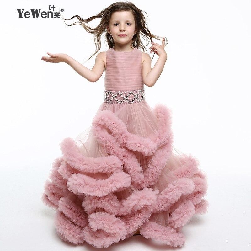 Yewen Profonde Rose Princesse Nuage petite fleur filles robes pour mariages enfants Enfants robes de Soirée 2018 Étage Longueur robe de Bal